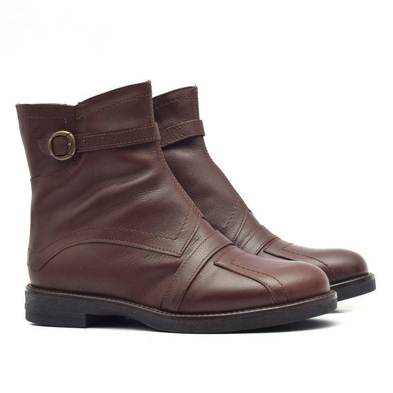 o noua sosire fara taxa de vanzare priza de fabrica Ghete dama 132 maro inchis din piele naturala - Ted Shoes